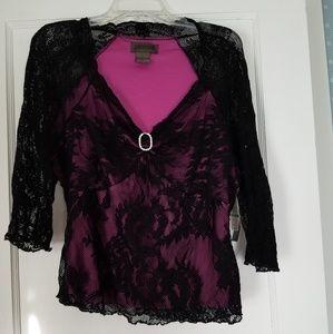 Uniform Designer Black Lace pink lining blouse sz